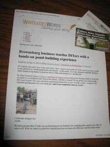 The blog post from Whitesides Words spread the good word about two businesses.